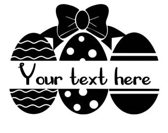 Easter Monogram Decal, Easter Egg Decal Easter Name Decal, Bow Monogram Decal
