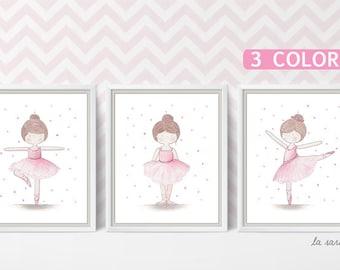 Set of 3 ballerina wall art, Little girl print set, Ballet nursery set of three, Pink ballerina, Watercolor print