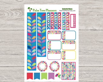Colorful Vines Planner Stickers for Erin Condren Vertical Planner