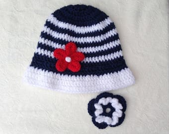 4th of July hat, Independence day, rts,  12-24 months, baby boy, girl, sunhat, removalbe flowers, navy, white, red, crochet,  spring hat