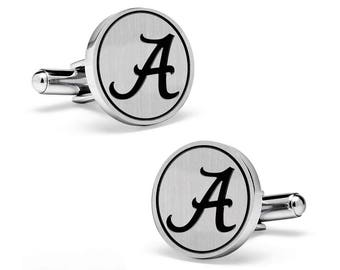 Alabama Crimson Tide BAMA Silver Cuff Links | College Cufflinks | Custom Cufflinks | Officially Licensed