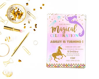 Gold foil magical party invitation,Girl Birthday Invitation, Rainbow Unicorn Party, Princess Birthday Party, Rainbow Invite,unicorn mermaid