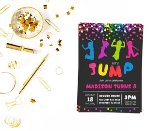 Jump confetti invitation,Jump invitation, Bounce house invitation, Trampoline party invitation, Trampoline birthday