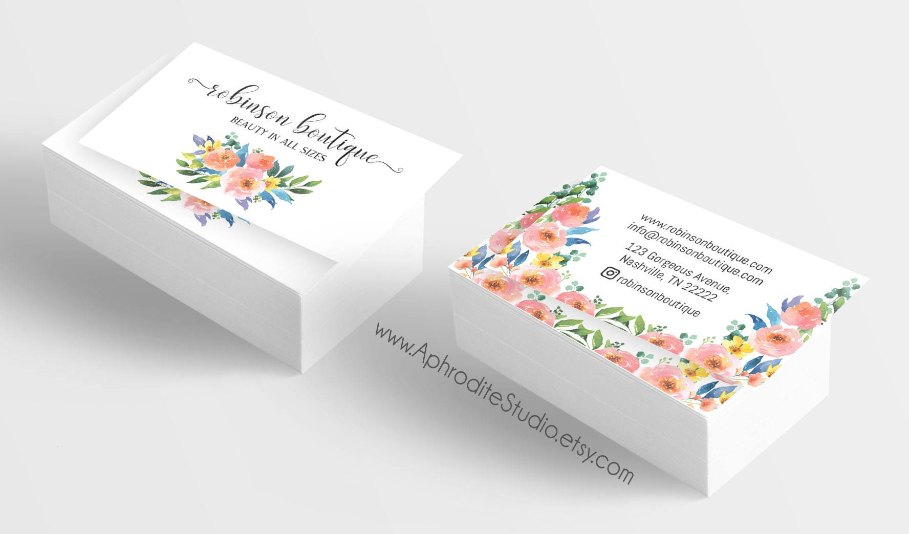 Floral business cards - Flower business cards - Watercolor business ...