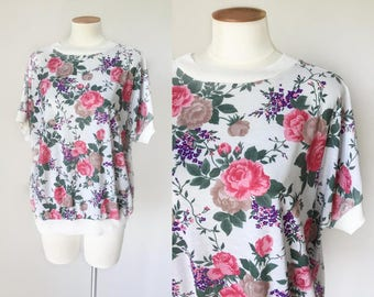 1980s pink cabbage rose print oversized tee shirt / 80s top / vintage maternity top
