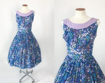 Vintage 1950s blue and purple floral dress / 50s dress / 1950s dress / vintage fit and flare sundress  / extra small XS S 23 24 25 waist