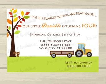 Fall Birthday Invitation, Tractor, Hayride, Pumpkin, Birthday Invitations, 5x7 Printed or Digital File, Paper***FREE SHIPPING