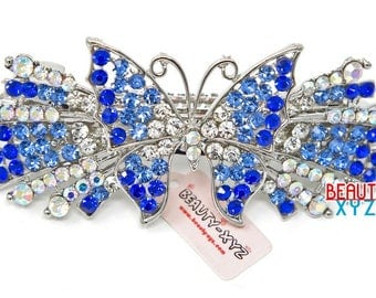 blue Rhinestones Crystal Silver Tone Metal Butterfly hair claws clips Barrette