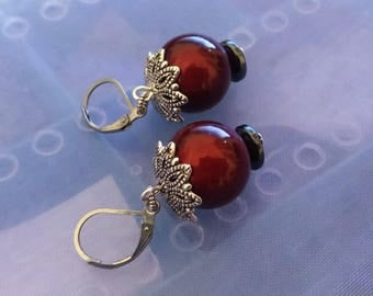 Earrings Red Miracle Large Acrylic Beads Earwire Stainless Steel 7012