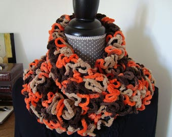 Round scarf wool chenille/velvet Orange Beige Brown ruffle