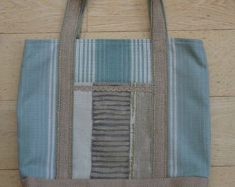 Hessian Tote Shopping bag, handmade and fully lined with outside slip pockets.
