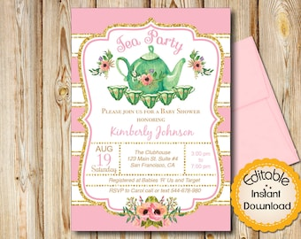 Tea Party Baby Shower Invitation, Girl, Pink Green And Gold, Stripes,  INSTANT
