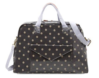 Oilcloth Overnight Bag- Polka dot bag Mothers Nappy bag Baby bag Diaper bag- Women Travel weekend bag- Ladies Duffel bag- Large Carry on bag
