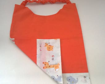 orange elastic canteen towel / napkin / large bib
