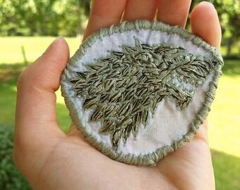 Hand Embroidered Stark Direwolf Patch
