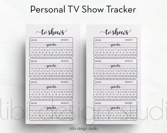 Tv Shows, Tv Show Tracker, Personal Planner Inserts, Tv Tracker, Tv Shows Organizer, Personal Printable, Planner Printable, Filofax personal