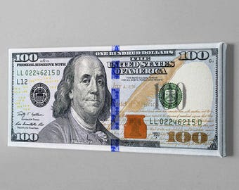 Money Art - 100 Dollar Bill Print Benjamin Franklin Money Canvas Abstract Cash Print Art
