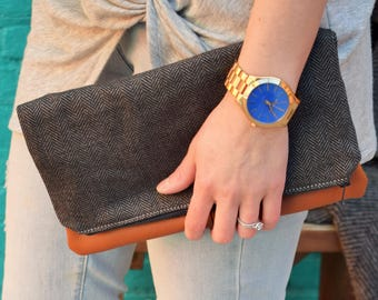 Fold Over Clutch-Genuine Leather, Zipper Clutch, gift for her,- day- evening