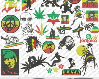 rasta man 28 embroidery designs hoop brother pattern emb hus jef pes dst with resizer-converter software included