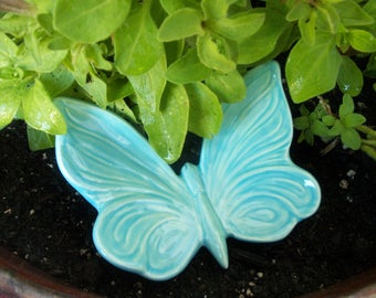 Turquoise Ceramic Butterfly Garden Decor, Free Shipping, Plant Decor, Home  Or Garden,