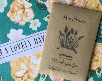 Thank You For Helping Me Grow! -Mini Kraft Envelope with Wildflower Seeds. Can Be Personalised With Any Name -Great Little Gift for Teachers