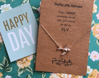 Pretty Little Necklace - Your Wings Already Exist. All You Have To Do Is Fly.... Gold, Rose Gold and Silver