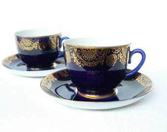 TEA SET Lfz Vintage/ Porcelain CUP and Saucer/ Cobalt Blue & Gold Decal/ Vintage Table Serving/ Ussr, 1980s