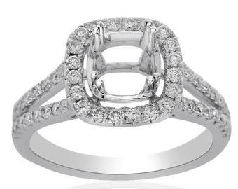 ON SALE 0.65 Carat Diamond Engagement Ring 14K White Gold Split Shank Setting