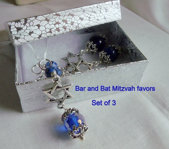 Bar - Bat Mitzvah gift set - party favors - star of David charm - ornaments - ribbon /clasp /set of 3 - memento -  Zipper pull -  blue gift