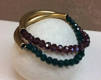 Christmas bracelet/bronze bracelet/ stones/personalized gift/set of two/christmas gift/gift for mom/brass/gift for her/gold bracelet