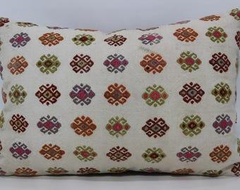 Embroidered Kilim Pillow Patterned Kilim Pillow 16x24 Lumbar Kilim Pillow Throw Pillow Sofa Pillow Handwoven Kilim Pillow  SP4060-626