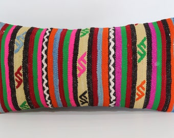 12x24 Bohemian Kilim Pillow Patterned Kilim Pillow 12x24 Lumbar Kilim Pillow Handwoven Turkish Kilim Pillow Cushion Cover SP3060-870