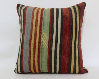Striped Turkish Cushion Throw Pillow 20x20 Decorative Kilim Pillow Sofa Pillow Cushion Cover Pastel Color Kilim Pillow SP5050-1854