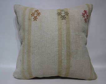 Turkish Kilim Pillow Home Decor 20x20 Handwoven Kilim Pillow Anatolian Kilim Pillow White Kilim Pillow Cushion Cover SP5050-2449