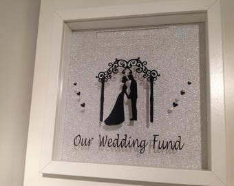 Our Wedding Fund, Moneybox, Wedding, Gift, White Shadowbox, Saving Funds