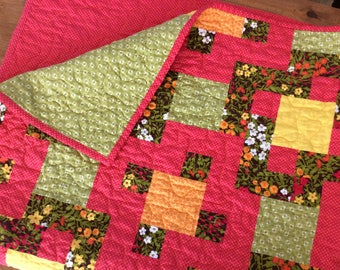 Modern Quilt,  Lap Quilt, Quilted Throw, Pink, Brown, Yellow, Floral Quilts, Handmade Patchwork Blanket