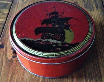 Retro Red Round Tin Cookies Food Metal Ship Nautical MidCentury 1960s Kitchen Container Canister Water Ocean Boat Storm Sewing Needles prop