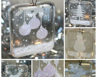 Iridescent Glass Christmas Decoration Set - Reindeer, Christmas Tree, Baubles, Snowman and Angel with Glitter/Sparkle Detail Handmade Fused