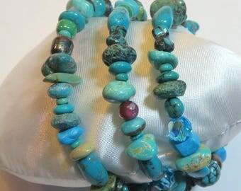 Turquoise - Bead - Memory Wire - Bracelet