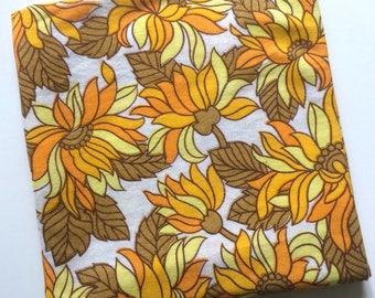 "1970s Yellow Flower Power Reclaimed Fabric Piece 49"" x 48"""