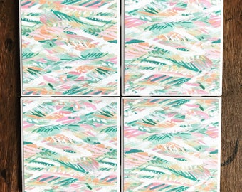 Feather Tile Coasters