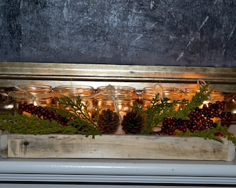 Pallet Tray christmas wedding  centerpiece / mantle piece