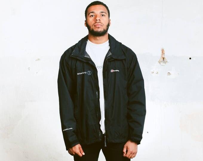 Black Rain Jacket . Vintage Black Hooded Jacket Windbreaker Zip Up Mens Wind Jacket Outerwear 90s Sports Jacket Autumn Jacket . size XL