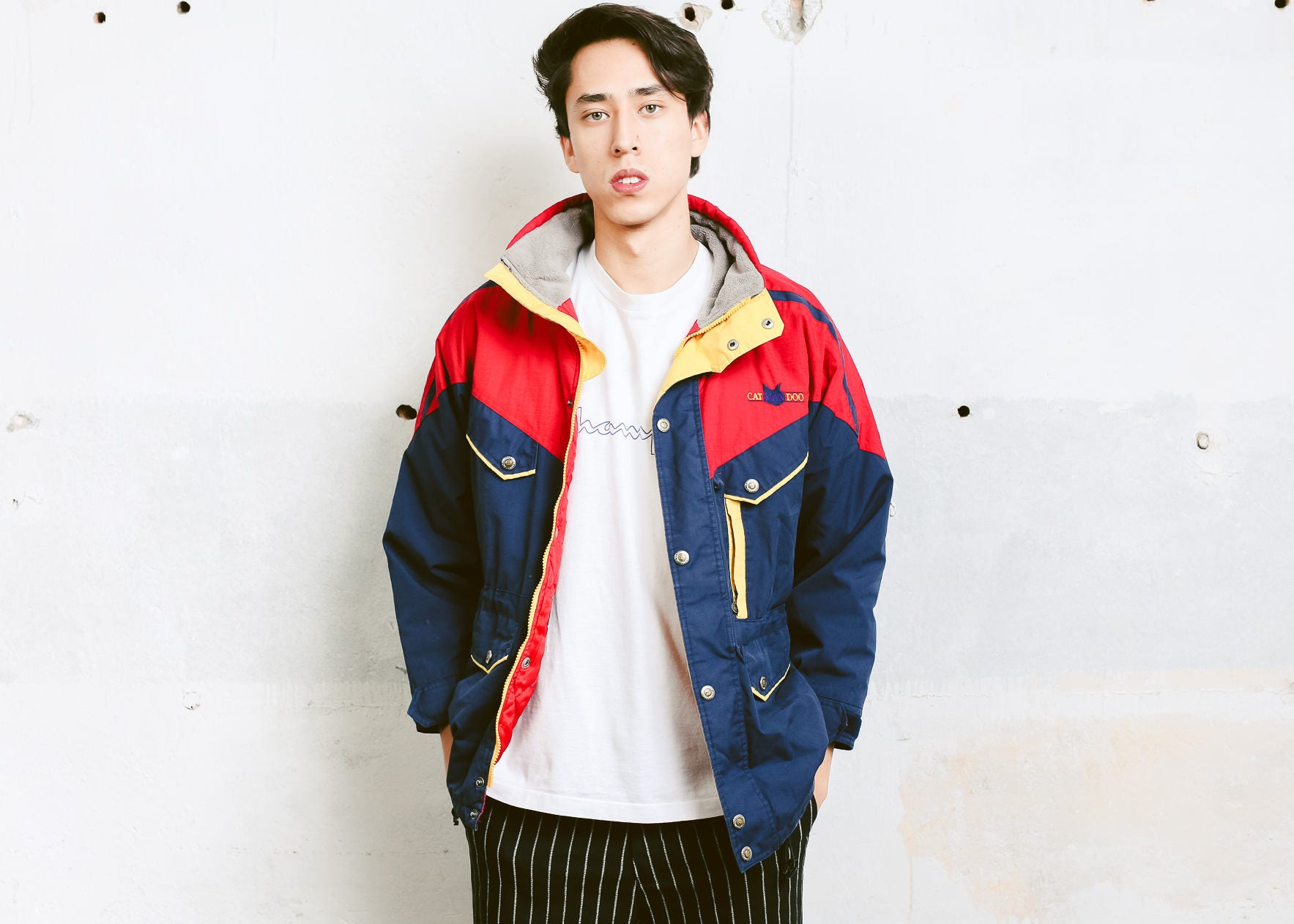 Vintage Mens Ski Jacket Men 90s Parka Winter Zip Up Colorful Coat Boyfriend Wear Clothing Size Small S