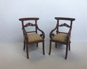 "1/2"" or 1/24 Scale Miniature Bespaq Arm Chairs (Pair)"