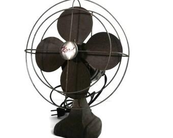 Vintage Fan | Retro KORD Fan | Old Electric Fan | Industrial Working Brown  BronzeFan |