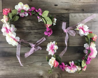 Flower crown pink mommy and daughter // mother and daughter flowers crown // headband // accessories mommy and daughter // matching outfit