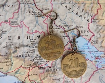 Peru coin earrings - 2 different designs - made of original coins from Peru - wanderlust - globetrotter - South America