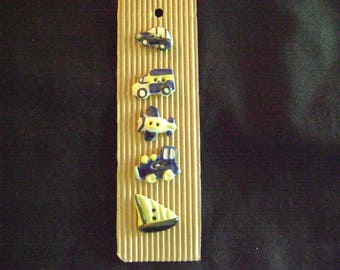South African Hand-Painted Ceramic and Clay Buttons - Cars, Trucks, Boats, Planes