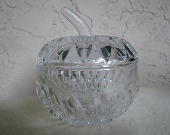 Crystal Apple Covered Candy Dish